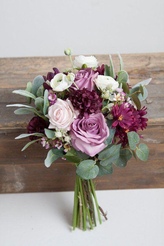 Plum Wedding Bouquet, Silk Bridal Bouquet, Lavender Ivory Bouquet, Pink Bouquet, Bridal Bouquet, Ivo #weddingtableflowerarrangementsmariage