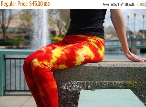 NEW YEAR SALE Cherry Lemon Red and Yellow Tie Dye Yoga Leggings by Splash Dye Activewear