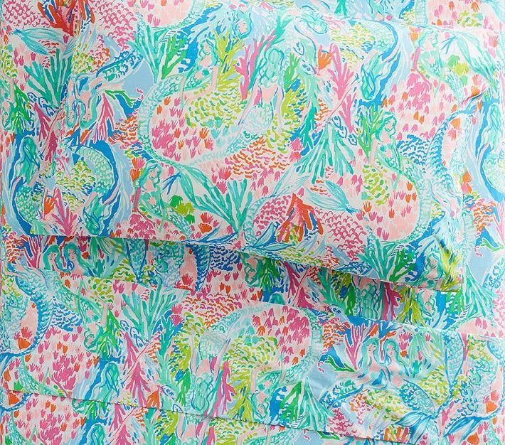 Lilly Pulitzer Organic Mermaid Cove Sheet Set Mermaid