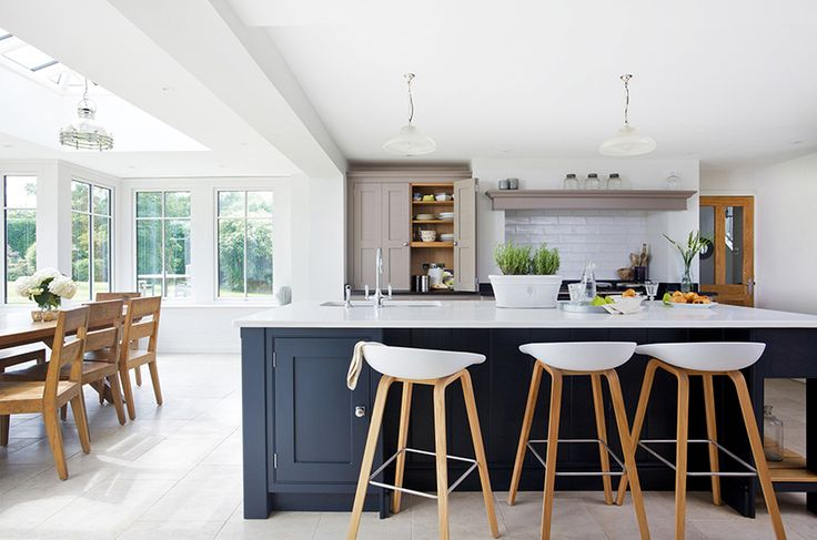 This stunning painted kitchens by Lewis Alderson featured in Beautiful Kitchens magazine and combines a pale warm grey with the darkest shade of blue grey - there's a larder painted in a shade of aubergine too. http://www.kitchensourcebook.co.uk/2015/05/18/kitchen-of-the-week-painted-classic/