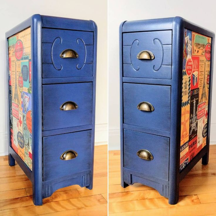 """Rescuing what's left of a former Art Déco dressing table. This accent furniture will bring  a retro touch to the home decor. The Navy Blue paint matches perfectly with the vintage advertising posters of Paris.  This item is for sale (17""""L x 11"""" W x 29"""" H). Please contact me for more info.  #artdecofurniture #furnituremakeover #furnitureflip #upcycledfurniture #vintagenightstand #vintagefurniture #countrychicpaint #navybluefurniture #furnitureforsale #forsale #refurbishedfurniture…"""