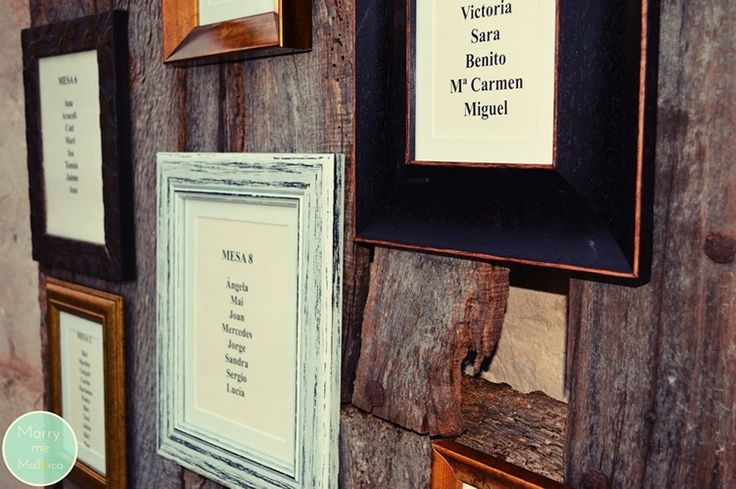 Old photo frames are so handy for seating plans