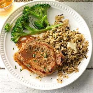 Braised Pork Loin Chops Recipe -An easy herb rub gives sensational taste to these boneless pork loin chops that can be cooked on the stovetop in minutes. The meat turns out tender and delicious. —Marilyn Larsen, Port Orange, Florida