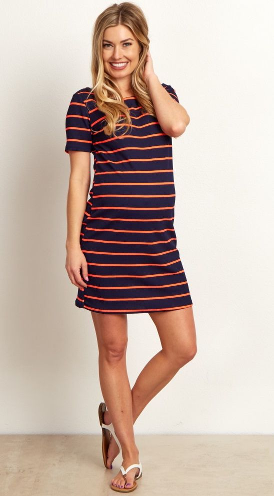 This striped maternity dress is the perfect versatile piece for every transitional mom. This chic print can be easily dressed up with wedges and a statement necklace or dressed down with flats. Show off your bump in style with this dress for every occasion you attend this year.
