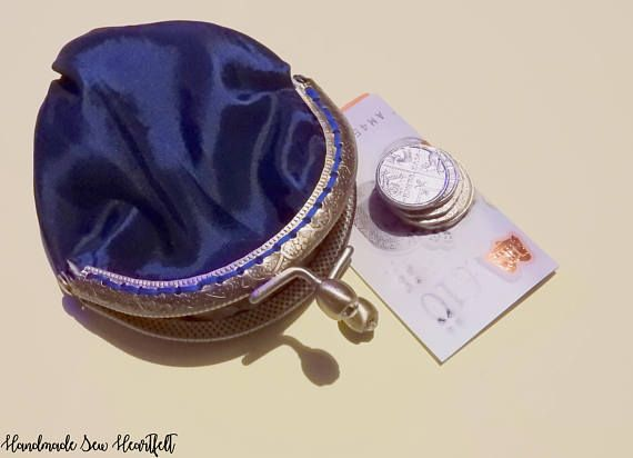 Handmade Coin Purse Metal Frame Clasp Purse Clasp Purse Kiss clasp purse Beautiful midnight blue taffeta purse with a cotton lining handsewn by HandmadeSewHeartfelt. #coinpurse #purse #fashion #style #wedding #shopping #changepurse #gifts #giftideas #giftsforher #handmadejewelry #handmade #handsewn #clasp #present
