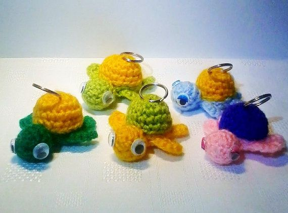Turtle crochet keychain