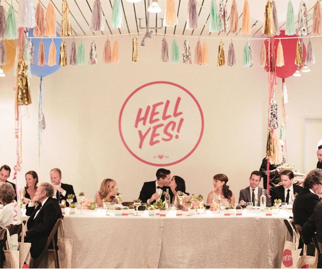 Hell Yes! Palm Springs wedding with tissue tassel + vinyl decal.