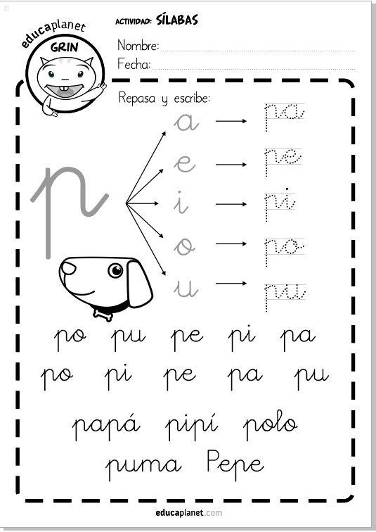 Letra cursiva silabas directas pa pe pi po pu 29 fichas como tarea individual de refuerzo de silabas directas #silabas #lectoescritura #infantil #repaso Un complemento ideal a LEO CON GRIN.