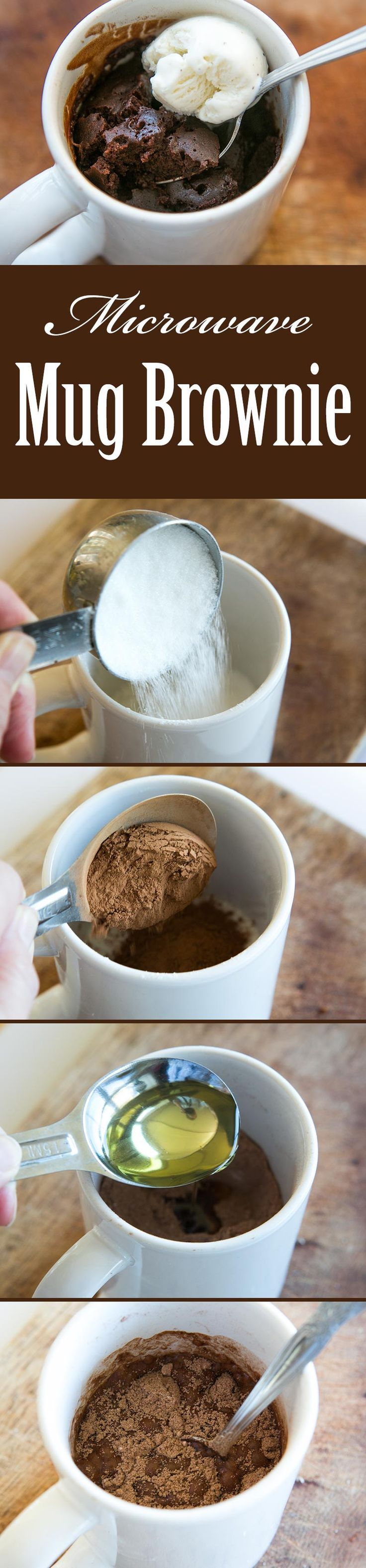 Easiest brownie ever! Single serving brownie microwaved in a mug. Takes only 5 minutes to make! On http://SimplyRecipes.com