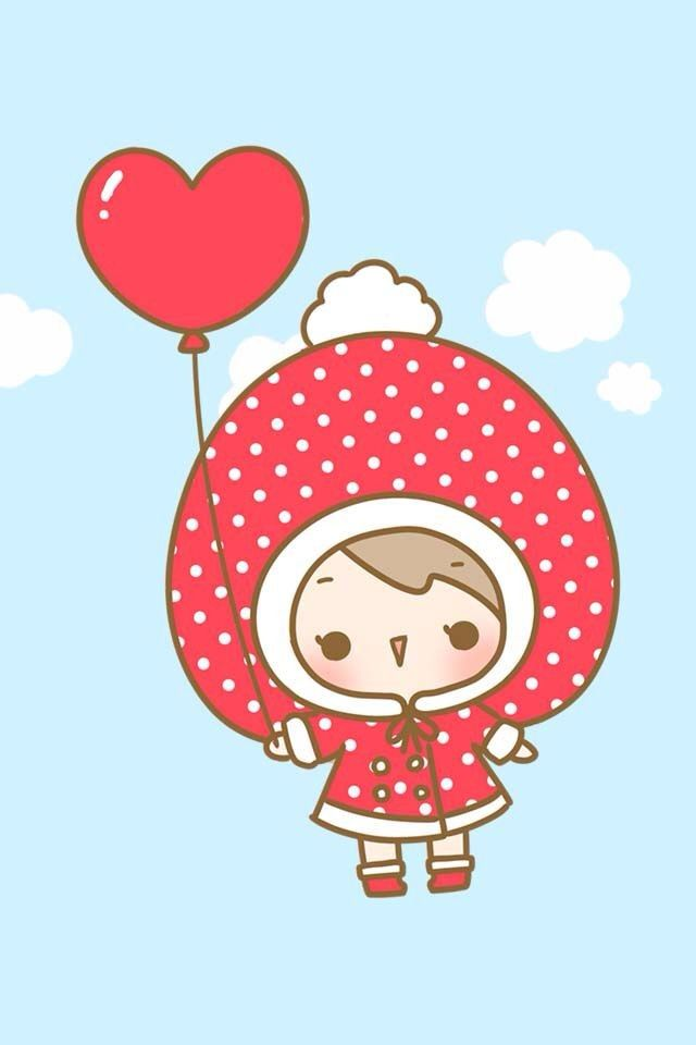 Cute My Melody Wallpaper Ultra Kawaii Strawberry Girl With Heart Balloon In The Sky