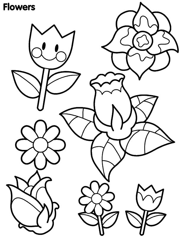 Charmant Spring Flowers Colouring Book Pages   Spring Day Cartoon Coloring Pages