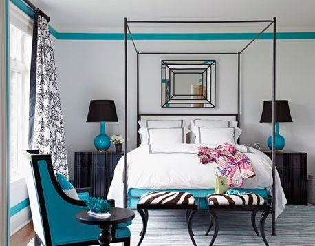 Turquoise trimmed, like a Tiffany box...Decor Ideas, Turquoise Room, Black And White, Colors, Room Ideas, Black White, White Bedrooms, Bedrooms Ideas, Beautiful Bedrooms
