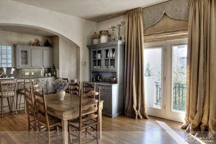 glazes in neutral tones & soft blues: Dining Rooms, Romans Shades, Burlap Window Treatments, French Doors, Burlap Curtains, French Blue, Country Kitchens, Burlap Draping, Window Covers