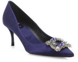 """Royal Blue and Gorgeous dainty navy court shoes... chic and demure enough to wear for the Queen.  Roger Vivier Dec Flower Crystal-Buckle Satin Point Toe Pumps Elegant satin pump enhanced with flower-crystal buckle. Self-covered heel, 2.5"""" (65mm).Satin upper with Swarovski crystal buckle. Point toe. Leather lining and sole. Made in Italy. #rogervivierhandbags"""