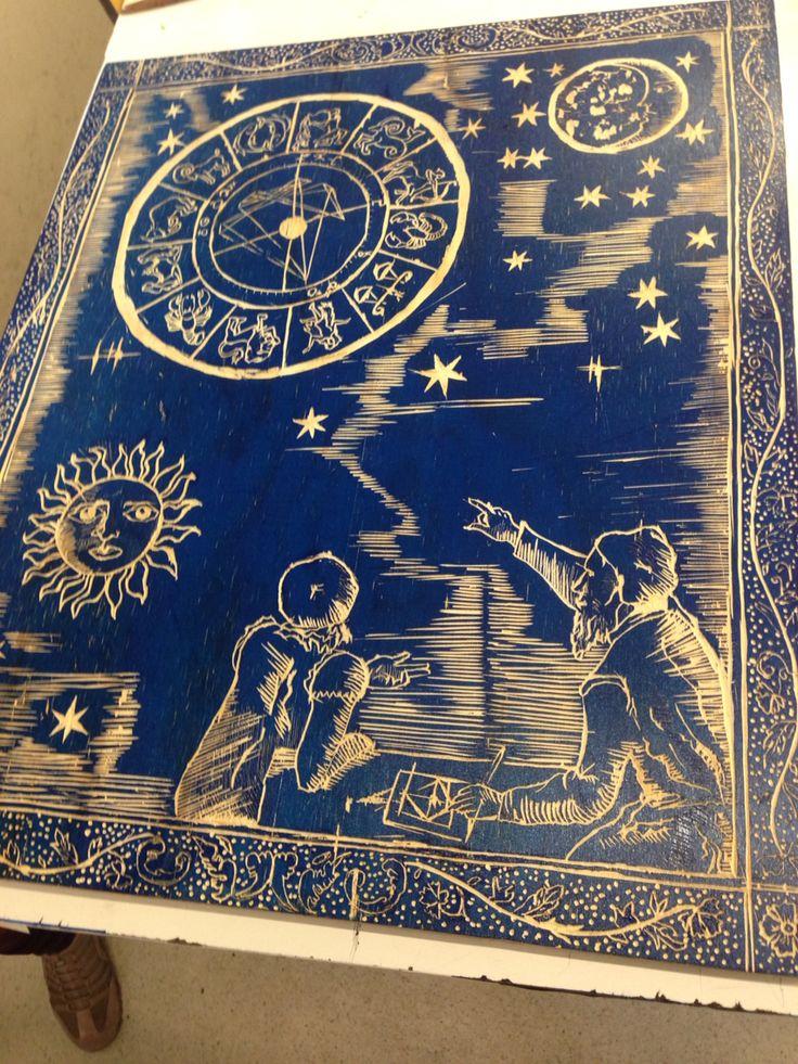 Medieval art lino printing