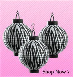 Zebra print decorations  www.shindigz.com