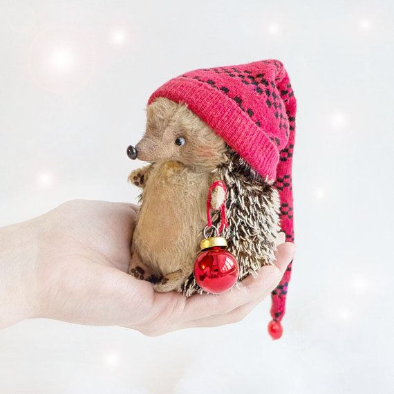 Christmas Baby Hedgehog  11cm  Made to order by KittyAprilHandmade