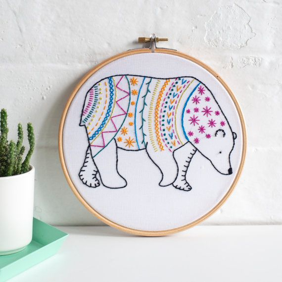 Bear Contemporary Embroidery Kit. Embroidery Hoop Art. Learn How to Embroider. Hand Embroidery Kit. Craft Kit. Embroidery Pattern.
