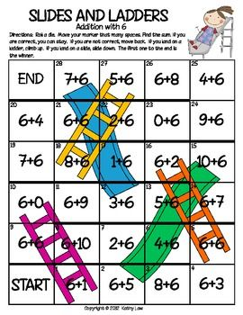Slides and Ladders--Addition & Subtraction Facts to 20 - Kathy Law - TeachersPayTeachers.com $8 for the pack