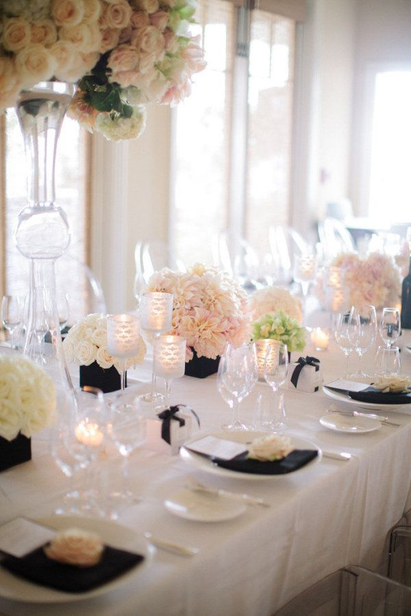 Table SettingsIdeas, Tables Sets, Floral Design, Colors, Black White, Bridal Shower, Centerpieces, Flower, Black Accent