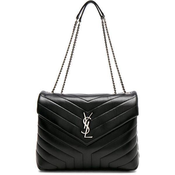 Saint Laurent Medium Supple Monogramme Loulou Chain Bag (2 630 AUD) ❤ liked on Polyvore featuring bags, handbags, quilted chain handbag, hand bags, quilted handbags, yves saint laurent purse and quilted hand bags