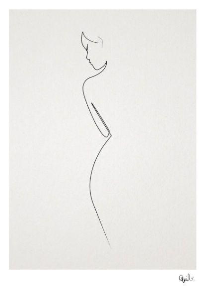One line nude Art Print