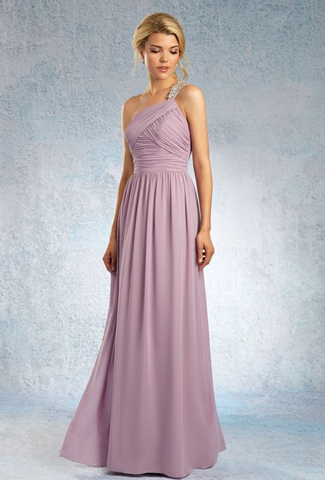 Sapphire by Alfred Angelo. Chiffon floor length gown with an asymmetric ruched natural waist bodice. Crystal beaded single-shoulder strap and softly gathered skirt.