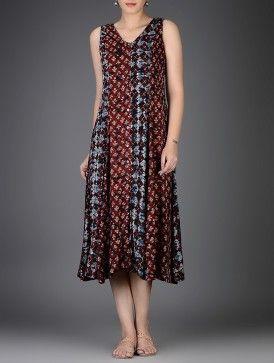 Maroon-Blue Block-Printed Shibori-Dyed Flared Modal Dress
