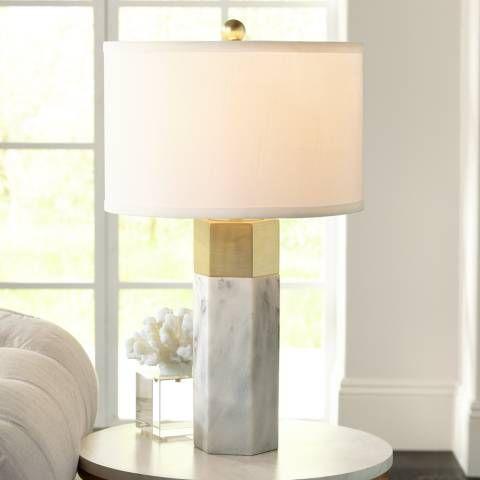 Possini Euro Leala Faux Marble Table Lamp – #9J676…
