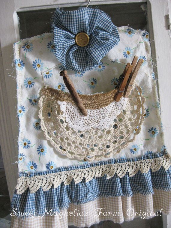 Clothespin Bag   Chic Country Cottage Farmhouse  by SweetMagnoliasFarm, Sold to a Good Home