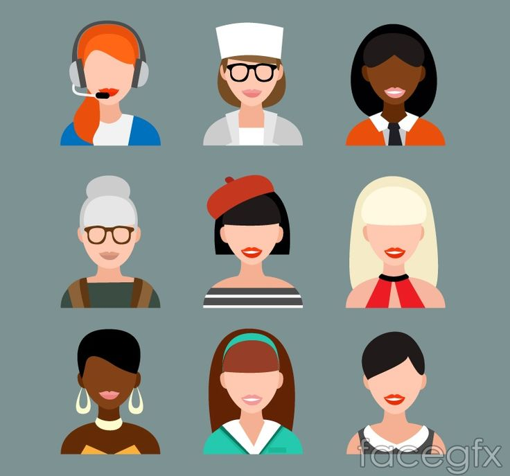 9 female avatar design vector