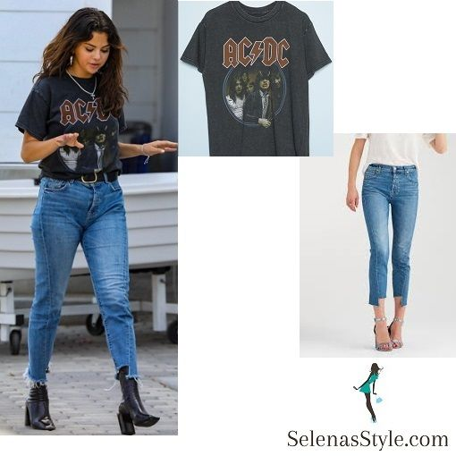 13b113cd9444 Selena Gomez AC DC t-shirt blue angle seam jeans black ankle boots silver  hoop earring July 2018