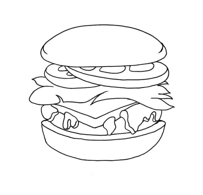 Junk Food Of Hamburger Coloring Pages Food Coloring