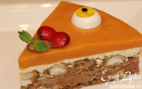 """Шоколадно-лаймовый торт с хурмой """"Взгляд Циклопа""""   Кулинарные рецепты от «Едим дома!»"""
