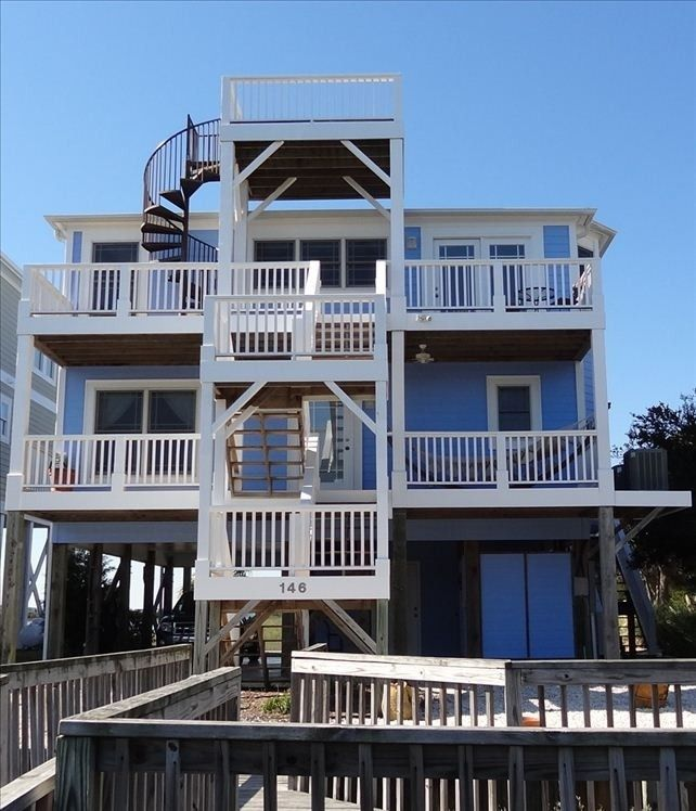 Coastal Home Spotted From The Crow S Nest Beach House: View From Our Dock. Note Spiral Stairs To Crows Nest