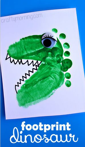 Dinosaur Footprint Crafts for Kids - Fun art project for boys! Doing this next week at our Dinosaur Camp with the grandsons! They will love it!