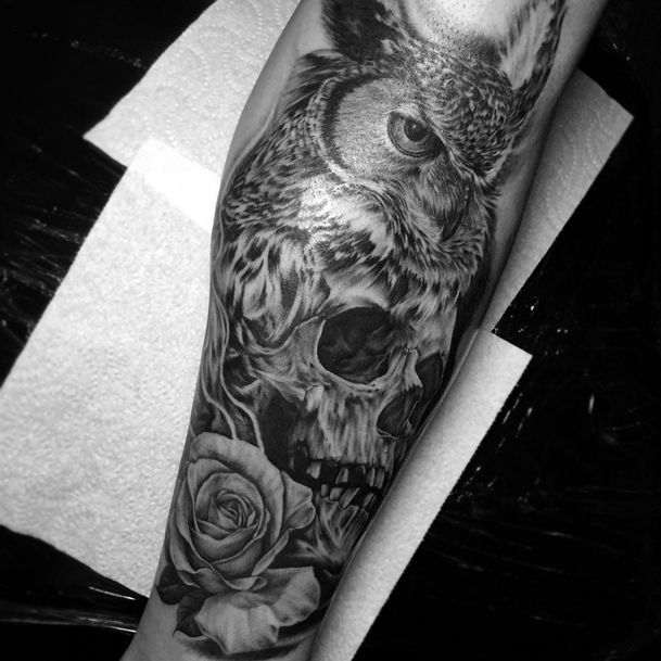 Original Skull And Owl Tattoos On Back photo - 5