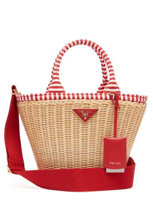 19802c214ff622 Prada Wicker and canvas basket bag | Bags!!! in 2019 | Basket bag ...