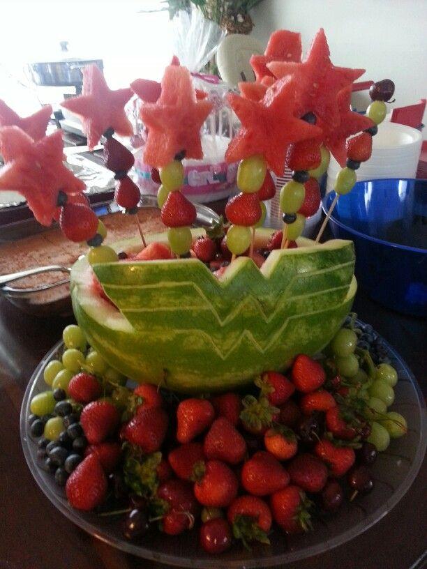 Wonder woman watermelon fruit platter