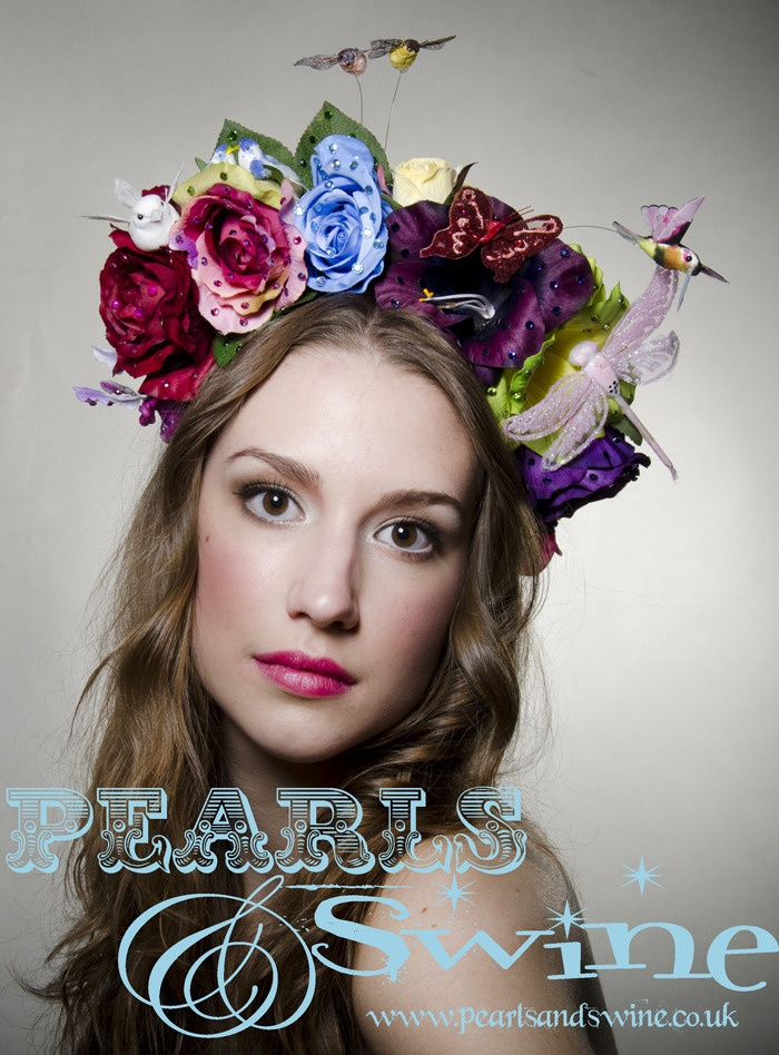 """""""Devotion"""" Frida Kaho Inspired Flower Headdress Birds Bees Butterflies Crystals Whimsical Headpiece by Pearls & Swine"""