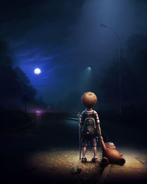 Night road by I-GordaMoon, Dreams, Stars, Beautiful, Illustration, Digital Art, Children, Night Roads, Running Away