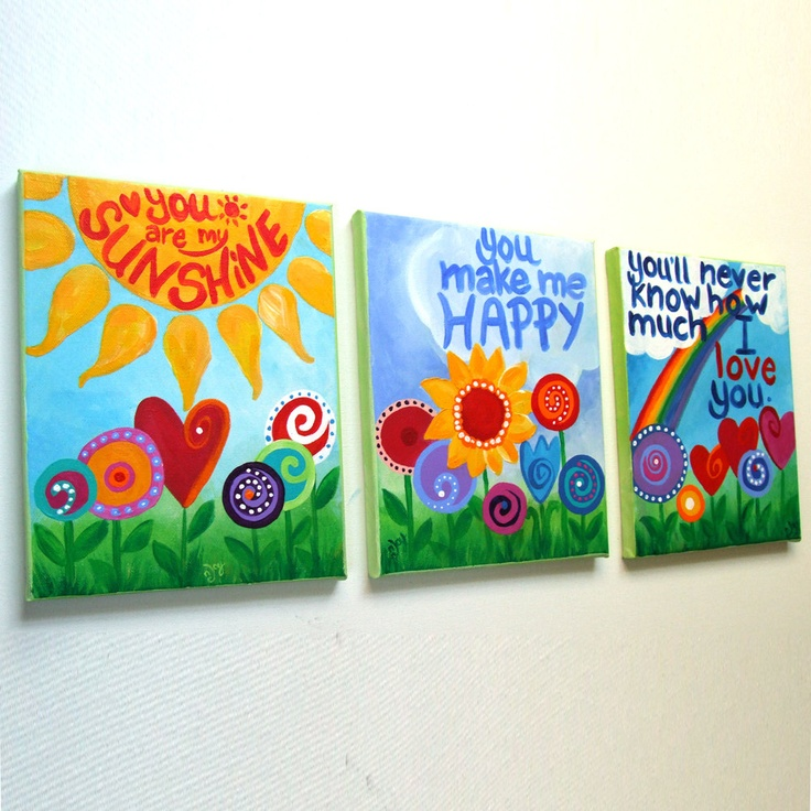 You Are My Sunshine, Set of 3 8x10 acrylic canvases, wall art for girls rooms or nursery decor. $125.00, via Etsy.