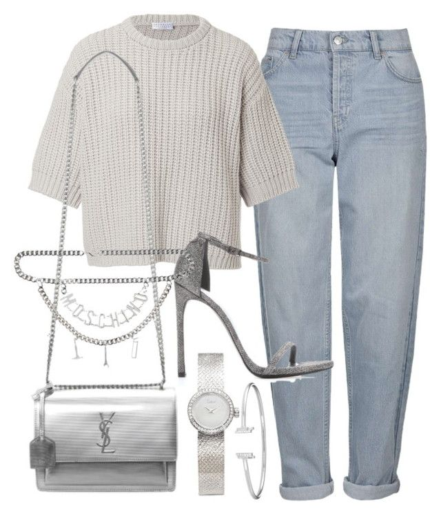 """Untitled #22157"" by florencia95 ❤ liked on Polyvore featuring Topshop, Brunello Cucinelli, Yves Saint Laurent, Stuart Weitzman, Moschino and Christian Dior"