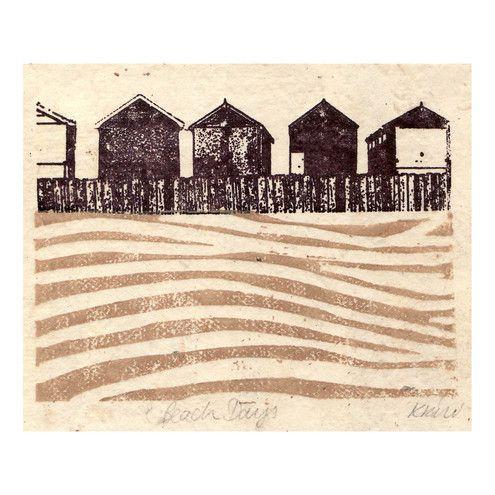 Beach days lino and Gocco print by Kate Watkins Printmaker: Beaches, Hut Lino, Days Lino, Days Beach, Screen Printing, Beach Huts, Print Gocco