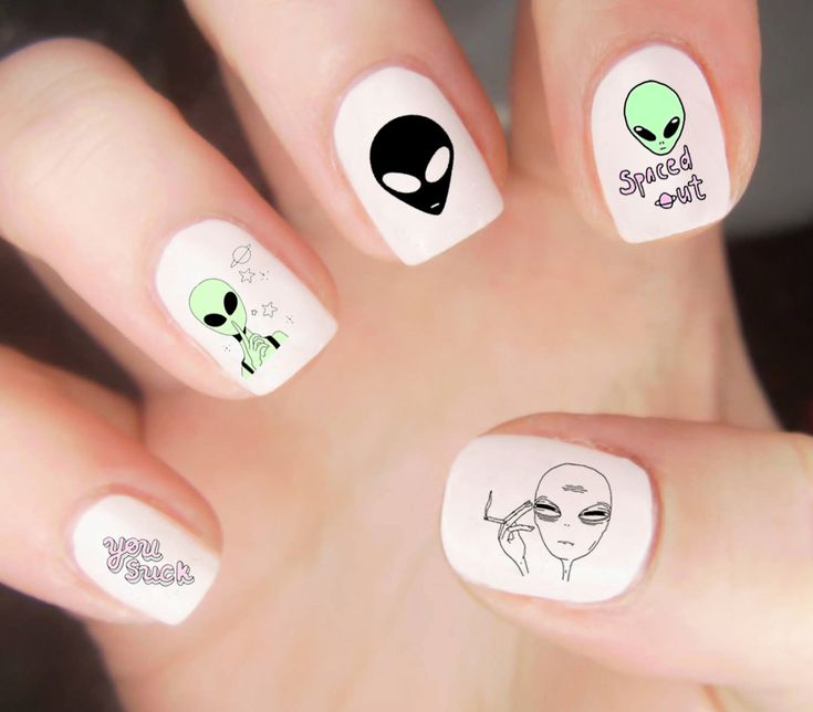 Space Nail Decals / Alien Nail Decals / Kawaii Nail Decals / Cute Nail Decal / Planet Nail Decals / Trippy Nail Decal / 90s Nail Decals from LoveByLunaCo on Etsy Studio