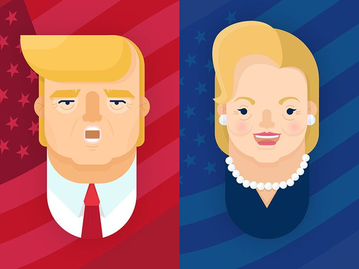 Trump vs. Hillary illustration #election #trump #hillary #vector
