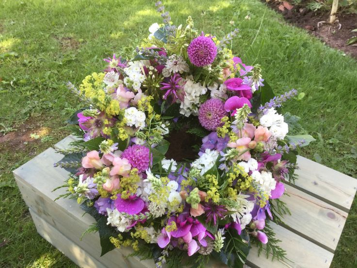 Wreath ring, British flowers, all homegrown in our cottage garden in herefordshire, Dahlias, Sweetpeas