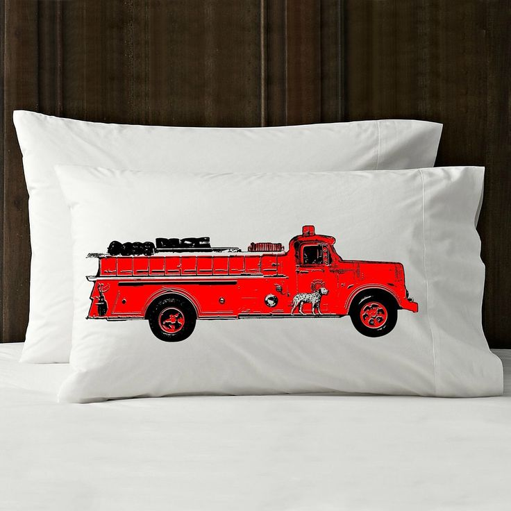 Red vintage red Fire engine truck pillowcase FD firetruck man the pillow cover case art gift great boys mens retro fan size of bedroom decor
