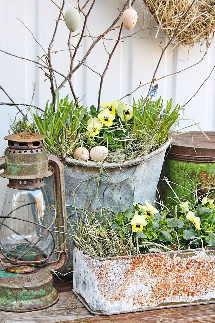 Shabby Chic Easter or Spring Planters