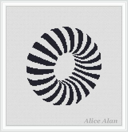 Black and white Thor (geometrical figure) pattern for lovers of minimalism Counted Cross Stitch Pattern / Instant Download Epattern